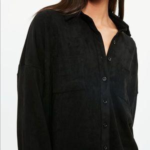 Soft Black Faux Suede Shirt Sz 2XL